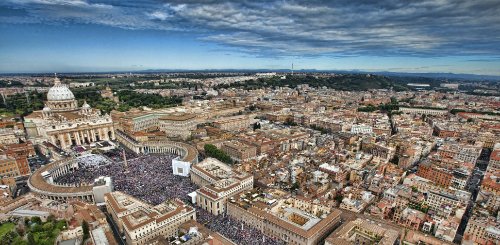 Aerial view of St. Peter's square in Vatican